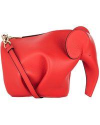 Loewe Mini Leather Elephant Bag - Red
