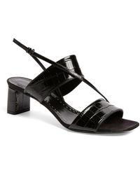 Max Mara Croc-embossed Leather Sandals 50 - Black
