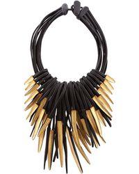 Eskandar Multi-strand Ebony And Gold Leaf Necklace - Metallic