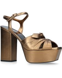 Saint Laurent - Metallic Farrah Bow Sandals 125 - Lyst