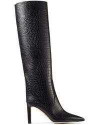 Jimmy Choo Mavis 85 Croc-embossed Leather Boots - Black