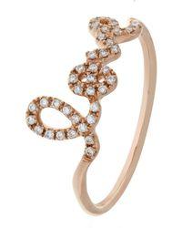 Sydney Evan - Love Script Diamond Ring - Lyst