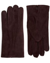 Eleventy Fur-lined Suede Gloves - Purple