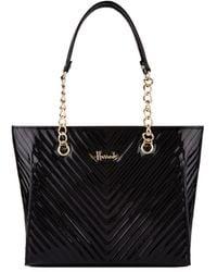 Harrods Patent Christie Chevron Shoulder Bag - Black
