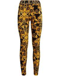 Versace Jeans Couture Baroque Print Leggings - Metallic