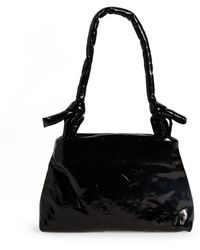 Kassl Lacquered Leather Lady Top-handle Bag - Black