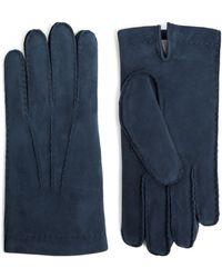 Eleventy Fur-lined Suede Gloves - Blue