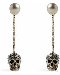 Alexander McQueen Crystal-embellished Skull Earrings - Brown