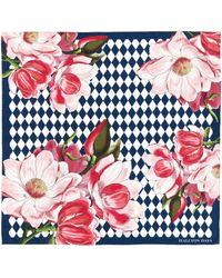 Halcyon Days Silk Paterre Blossom Print Scarf - Blue