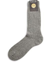 Pantherella Cashmere-blend Ribbed Socks - Gray