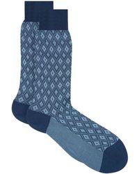 Pantherella | Egyptian Cotton Lislediamond Pattern Socks | Lyst