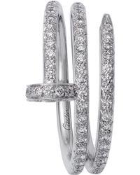 Cartier White Gold And Pav Diamond Double Juste Un Clou Ring - Metallic