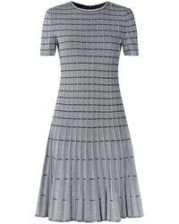St. John - Knitted Stripe Flared Dress - Lyst