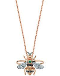 Bee Goddess Diamond And Emerald Honey Bee Necklace - Metallic
