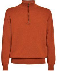 Johnstons of Elgin Cashmere Zip Sweatshirt - Red