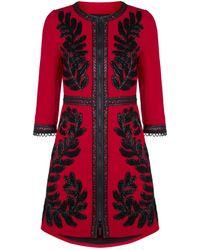 Andrew Gn - Embellished Leaf Wool Coat - Lyst