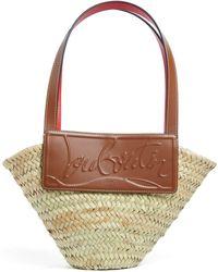 Christian Louboutin Loubishore Small Woven Straw Basket Bag - Brown
