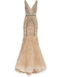 Jovani Embellished Feather-hem Gown - Metallic