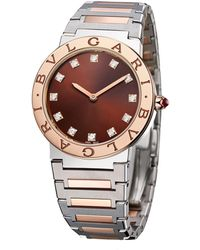 BVLGARI Rose Gold, Stainless Steel And Diamond Lady Watch 33mm - Brown