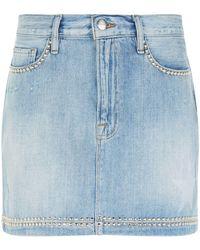 FRAME - Le Mini Studded Denim Skirt - Lyst