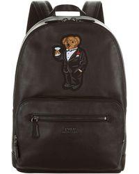 Polo Ralph Lauren Bear Motif Leather Backpack - Black