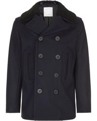 Sandro - Faux Shearling Collar Peacoat - Lyst