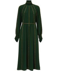 Burberry Crystal Trim Silk Gown - Green