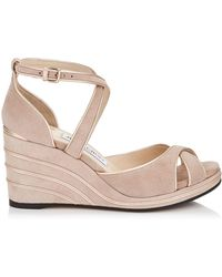Jimmy Choo - Alanah 80 Suede Wedge Sandals - Lyst