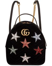 ac5ee639d7a Gucci - Velvet Marmont Matelass Star Backpack - Lyst