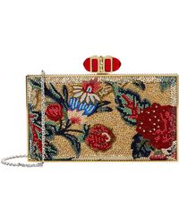 Judith Leiber - Floral Rectangle Clutch, White, One Size - Lyst