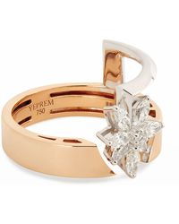 YEPREM Yellow Gold And Diamond Electrified Ring - Metallic