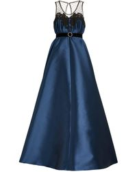 Alexis Mabille Belted Satin Gown - Blue