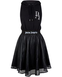 Palm Angels Cut-out Hoodie Dress - Black