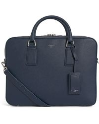 Sandro Grained Leather Document Case - Blue
