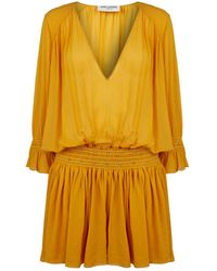 Saint Laurent Georgette Silk Dropped Waist Dress - Yellow