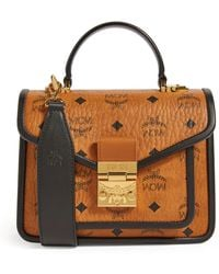 MCM Small Leather And Canvas Patricia Visetos Satchel - Brown