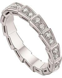 BVLGARI White Gold And Diamond Serpenti Ring - Metallic