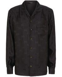 Dolce & Gabbana Silk Logo Pyjama Top - Black