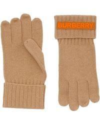 Burberry Cashmere Logo Appliqué Gloves - Multicolor