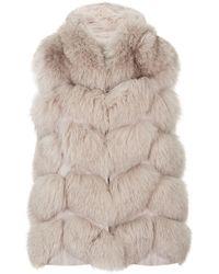 Max & Moi Novus Hooded Fur Gilet - Natural