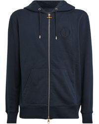 Dunhill Cotton Logo Zip-up Hoodie - Blue