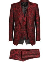 Dolce & Gabbana Three-piece Jacquard Suit - Red