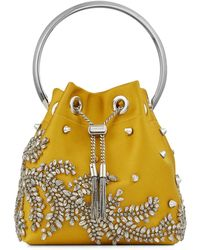 Jimmy Choo Bon Bon Embellished Satin Bucket Bag - Yellow