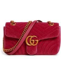 bbae215a1349 Gucci - Small Velvet Marmont Matelass Shoulder Bag - Lyst