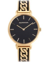 Halcyon Days Yellow Gold-plated Chain Watch 36mm - Black