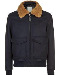 Sandro - Shearling Collar Aviator Jacket - Lyst