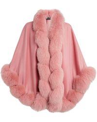 Harrods Fox Trim Cashmere Cape - Pink