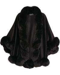 Harrods Cashmere Fox Fur-trim Cape - Black