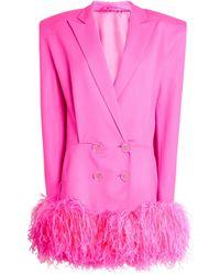 The Attico Feather-trim Blazer Dress - Pink