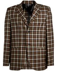 Edward Crutchley Wool Check Jacket - Brown